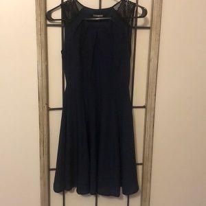 Navy blue mesh top aline dress